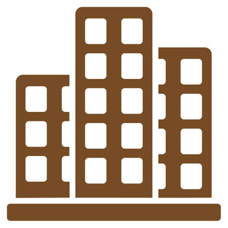 polis: City icon. Glyph style is flat symbol, brown color, rounded angles, white background. Stock Photo