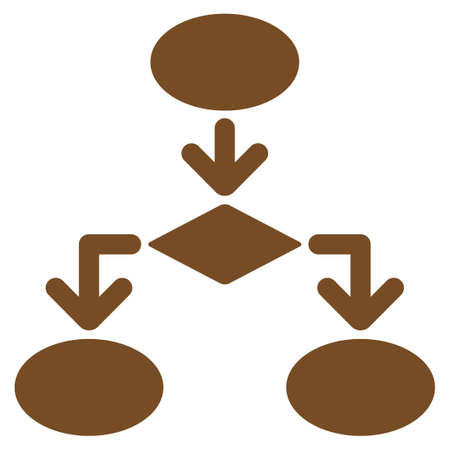 flowchart: Flowchart icon. Glyph style is flat symbol, brown color, rounded angles, white background. Stock Photo