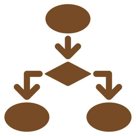 diagrama de flujo: Icono de Diagrama de flujo. Estilo Glifo es s�mbolo de plano, de color marr�n, �ngulos redondeados, fondo blanco.