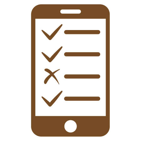 enumerate: Mobile Tasks icon. Glyph style is flat symbol, brown color, rounded angles, white background.