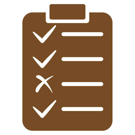 enumerate: Task List icon. Glyph style is flat symbol, brown color, rounded angles, white background. Stock Photo