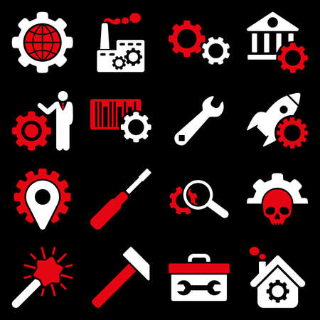 gear box: Options and service tools icon set. Vector style is flat bicolor symbols, red and white colors, rounded angles, black background.