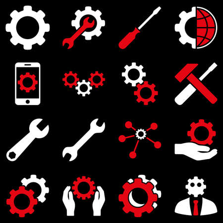 config: Options and service tools icon set. Glyph style is flat bicolor symbols, red and white colors, rounded angles, black background. Stock Photo