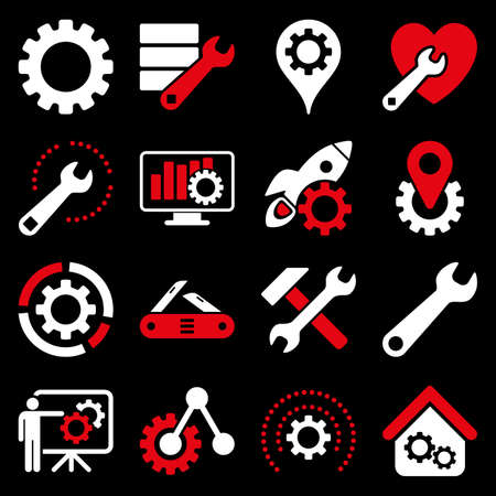 gear box: Options and service tools icon set. Glyph style is flat bicolor symbols, red and white colors, rounded angles, black background. Stock Photo