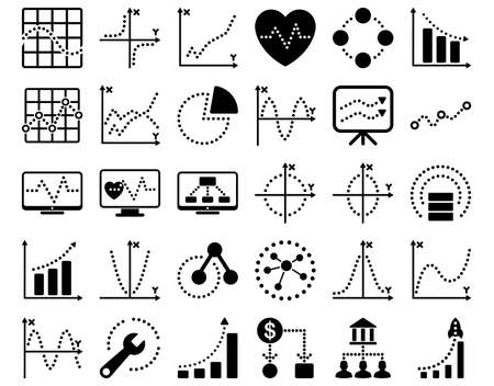 shortcuts: Dotted Charts Icons. These flat icons use black color. Vector images are isolated on a white background.