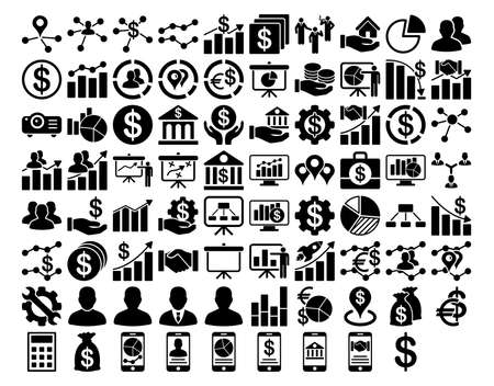 donations: Business Icon Set. These flat icons use black color. Vector images are isolated on a white background.