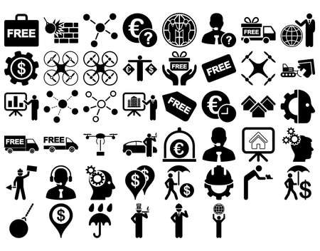 robot with shield: Business Icon Set. These flat icons use black color. Vector images are isolated on a white background.