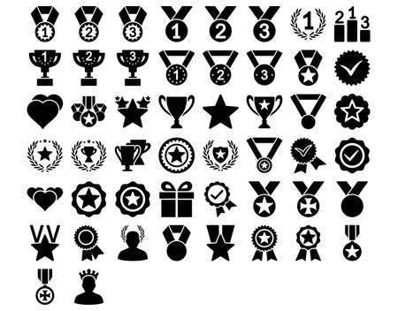 valid: Competition and Awards Icons. These flat icons use black color. Vector images are isolated on a white background.