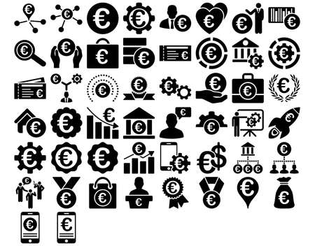 configure: Euro Business Iconst. These flat icons use black color. Vector images are isolated on a white background.