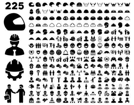 Werk Veiligheid en Helm Icon Set. Deze vlakke pictogrammen zwarte kleur. Vector afbeeldingen zijn geïsoleerd op een witte achtergrond.
