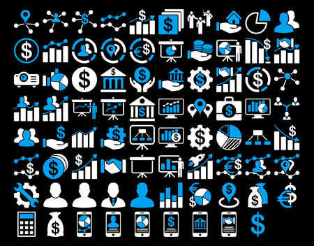 health care analytics: Business Icon Set. These flat bicolor icons use blue and white colors. Vector images are isolated on a black background.