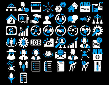 Business Icon Set. These flat bicolor icons use blue and white colors. Vector images are isolated on a black background.
