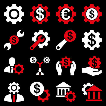 american banker: Financial tools and options icon set. Glyph style is flat bicolor symbols, red and white colors, rounded angles, black background.