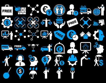 robot with shield: Business Icon Set. These flat bicolor icons use blue and white colors. Vector images are isolated on a black background.