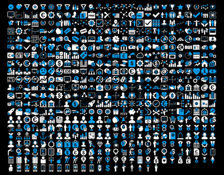 real trophy: Application Toolbar Icons. 576 flat bicolor icons use blue and white colors. Glyph images are isolated on a black background.