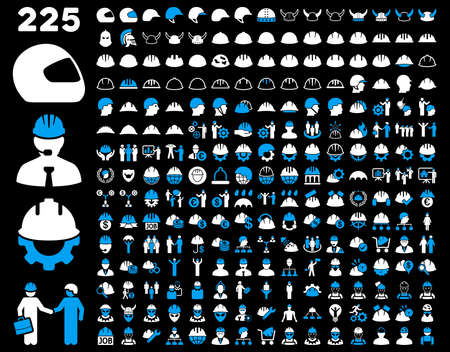 hard rain: Work Safety and Helmet Icon Set. These flat bicolor icons use blue and white colors. Glyph images are isolated on a black background.