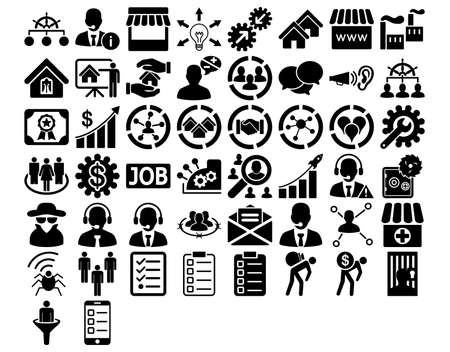Business Icon Set. These flat icons use black color. Glyph images are isolated on a white background.