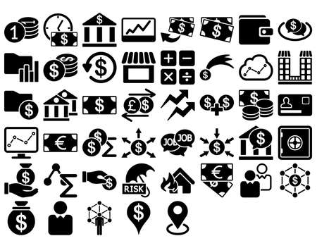 cash register building: Business Icon Set. These flat icons use black color. Glyph images are isolated on a white background.