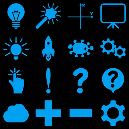 coordinates: Basic science and knowledge vector icons. These plain symbols use blue color and isolated on a black background.