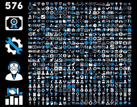 Toolbar Icon Set. 576 flat bicolor icons use blue and white colors. Vector images are isolated on a black background.
