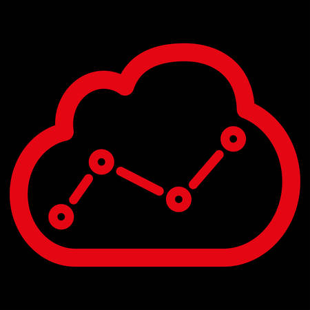 saas: Analytics icon. This flat vector symbol uses red color, rounded angles, and isolated on a black background.