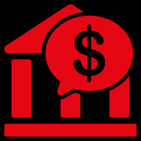bank overschrijving: Bank Transfer icon. This flat vector symbol uses red color, rounded angles, and isolated on a black background.