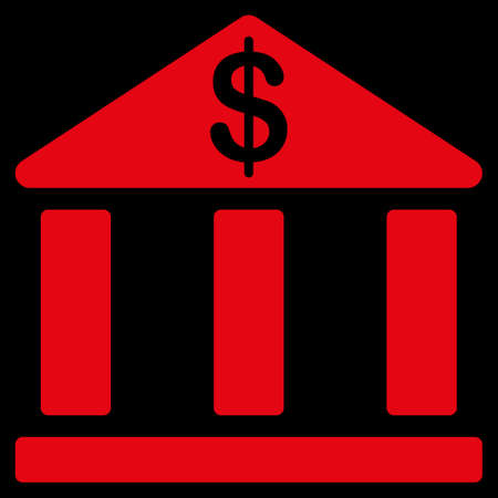 treasury: Bank icon. This flat vector symbol uses red color, rounded angles, and isolated on a black background.