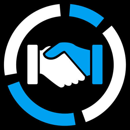 acquisition: Acquisition diagram icon. Vector style is bicolor flat symbol, blue and white colors, rounded angles, black background.