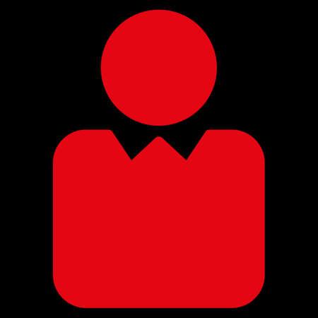 director de escuela: Icono de Cliente. Este símbolo vector plana utiliza el color rojo, ángulos redondeados, y aislado en un fondo negro.