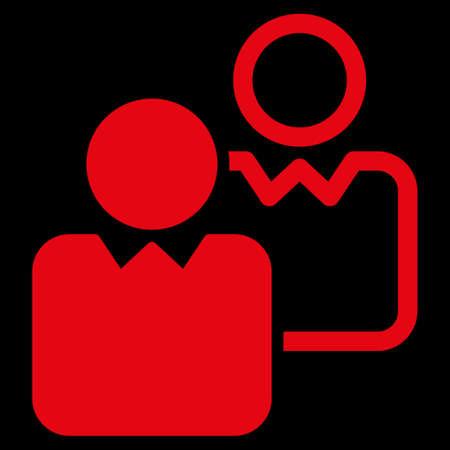 director de escuela: Clientes icono. Este símbolo vector plana utiliza el color rojo, ángulos redondeados, y aislado en un fondo negro.