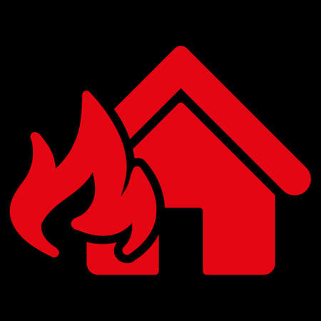 fire damage: Fire Damage icon. This flat vector symbol uses red color, rounded angles, and isolated on a black background.