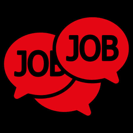 labor market: Labor Market icon. This flat vector symbol uses red color, rounded angles, and isolated on a black background.