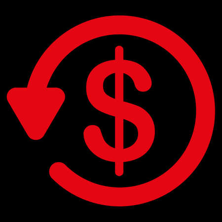 refunds: Refund icon. This flat vector symbol uses red color, rounded angles, and isolated on a black background.