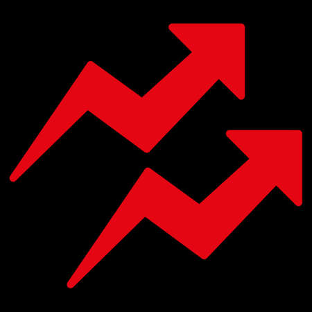 trends: Trends icon. This flat vector symbol uses red color, rounded angles, and isolated on a black background.