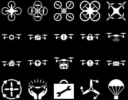 mech: Air drone and quadcopter tool icons. Icon set style is flat vector images, white symbols, isolated on a black background.