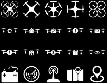 take charge: Air drone and quadcopter tool icons. Icon set style is flat vector images, white symbols, isolated on a black background.