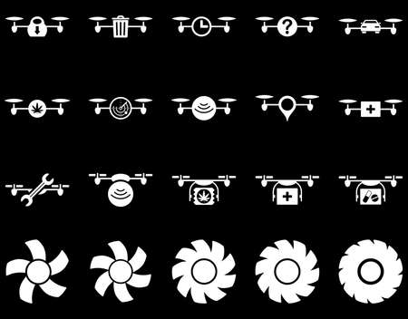 medical ventilator: Air drone and quadcopter tool icons. Icon set style is flat vector images, white symbols, isolated on a black background.