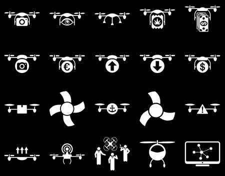airflight: Air drone and quadcopter tool icons. Icon set style is flat vector images, white symbols, isolated on a black background.