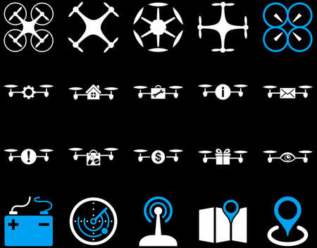 take charge: Air drone and quadcopter tool icons. Icon set style is flat vector bicolor images, blue and white symbols, isolated on a black background. Illustration