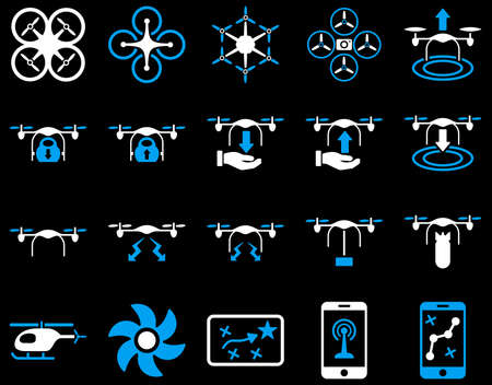 airflight: Air drone and quadcopter tool icons. Icon set style is flat vector bicolor images, blue and white symbols, isolated on a black background. Illustration
