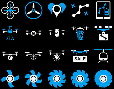 Air drone and quadcopter tool icons. Icon set style is flat vector bicolor images, blue and white symbols, isolated on a black background. Illustration