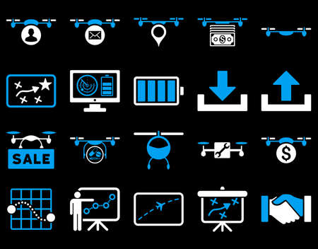 mech: Air drone and quadcopter tool icons. Icon set style is flat vector bicolor images, blue and white symbols, isolated on a black background. Illustration