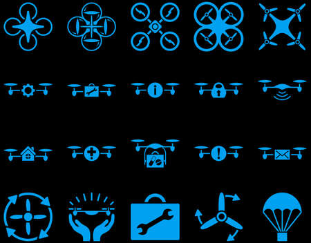 mech: Air drone and quadcopter tool icons. Icon set style is flat glyph images, blue symbols, isolated on a black background. Stock Photo