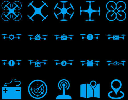 take charge: Air drone and quadcopter tool icons. Icon set style is flat glyph images, blue symbols, isolated on a black background. Stock Photo
