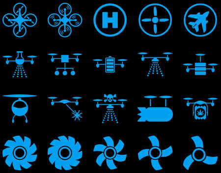 medical distribution: Air drone and quadcopter tool icons. Icon set style is flat glyph images, blue symbols, isolated on a black background. Stock Photo