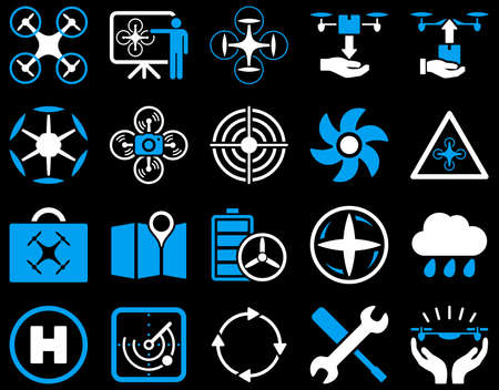 weather report: Air drone and quadcopter tool icons. Icon set style is flat vector bicolor images, blue and white symbols, isolated on a black background. Illustration