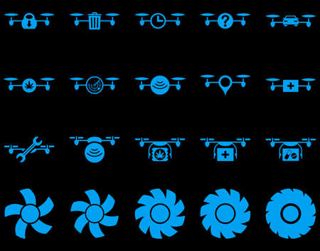 medical ventilator: Air drone and quadcopter tool icons. Icon set style is flat glyph images, blue symbols, isolated on a black background. Stock Photo
