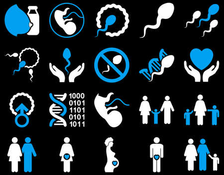 penetration: Medical icon set. Style is bicolor icons drawn with blue and white colors on a black background.