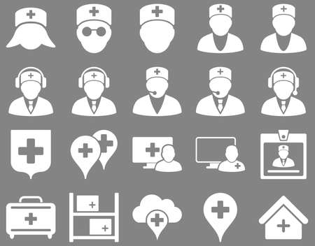 firstaid: Medical icon set. Style is icons drawn with white color on a gray background.