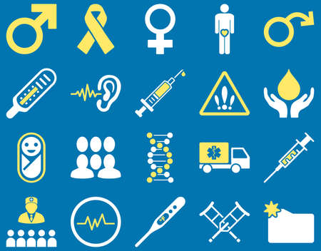 ear drop: Medical icon set. Style is bicolor icons drawn with yellow and white colors on a blue background. Illustration